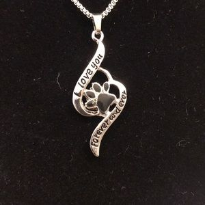 """Jewelry - NEw Paw print"""" I Love you forever & ever necklace"""